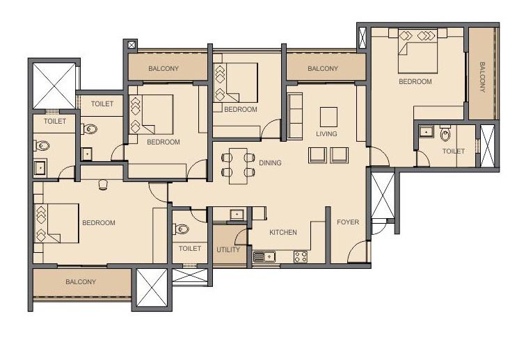 Rohan Akriti Floor Plan
