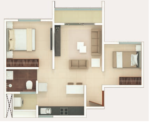 Rohan Upavan Floor Plan 1.5BHK