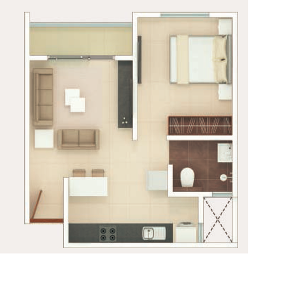 Rohan Upavan Floor Plan 1BHK