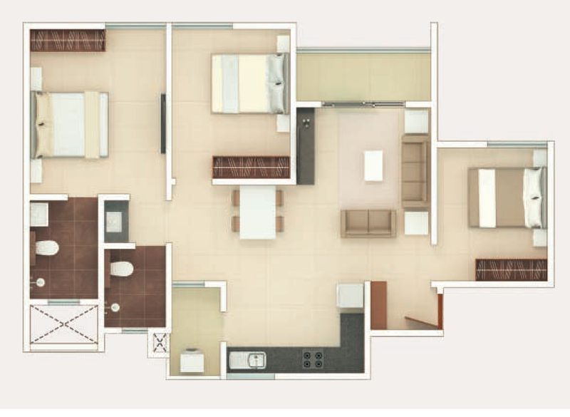 Rohan Upavan Floor Plan 2.5BHK